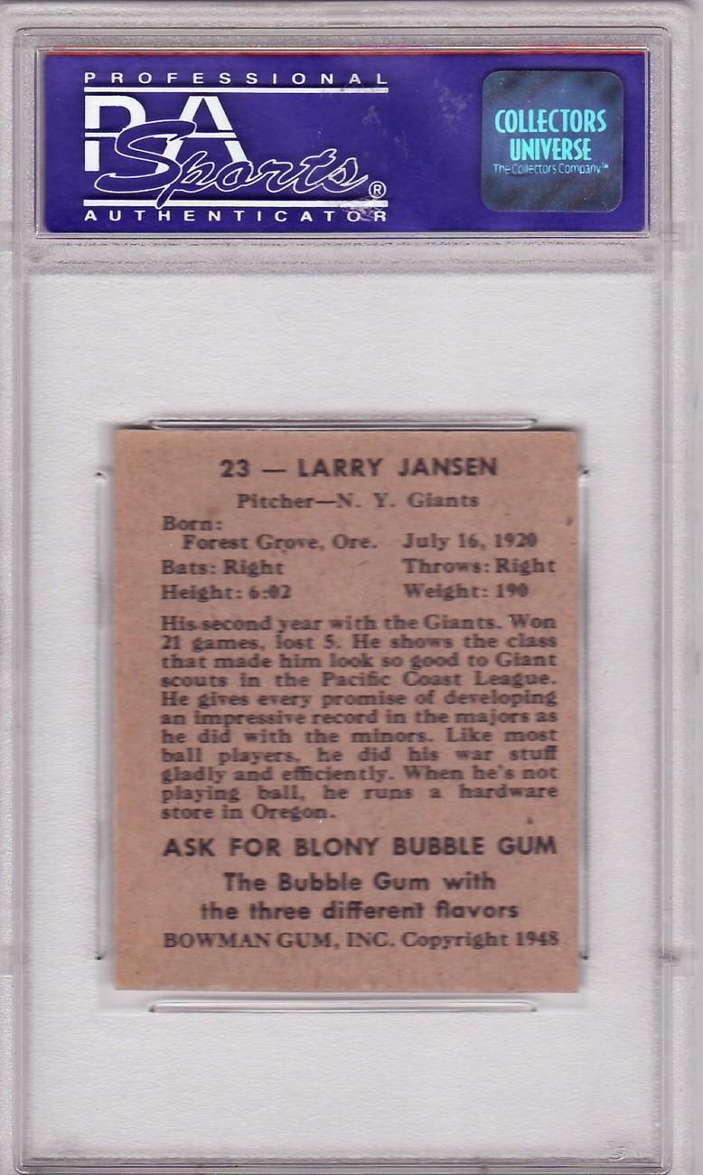 Larry Jansen 1948 Bowman #23 PSA 7 NM