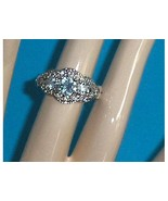 Sterling Silver Blue and Clear CZ Ring Size 8 - $29.97