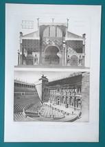 ITALY Theater at Ostia & Basilica of Constantine - SUPERB 1905 Espouy Print - $22.95