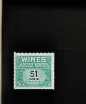 1951-54 51c U.S. Internal Revenue Cordial & Wine, Green Scott RE191 Mint... - $5.34