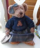 Russ Vintage collection Lady Laine teddy bear wearing blue sweater & twe... - $13.00