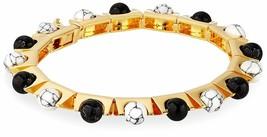 nOir Sphere Semi Precious Stones 18K Gold Plated Brass Rotation Bracelet NWT