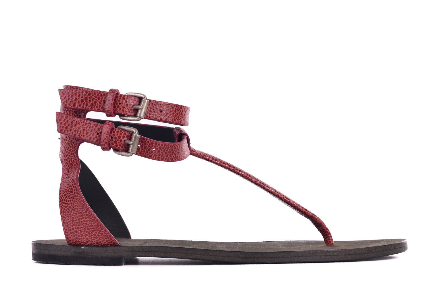 Brunello Cucinelli Women Red Micro Croc Leather Thong Sandals~Sz36/US 6~RTL $895
