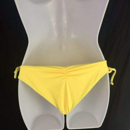 L Space Ella Side Tie Lace Up Back Ruched String Bikini Yellow Womens M Medium