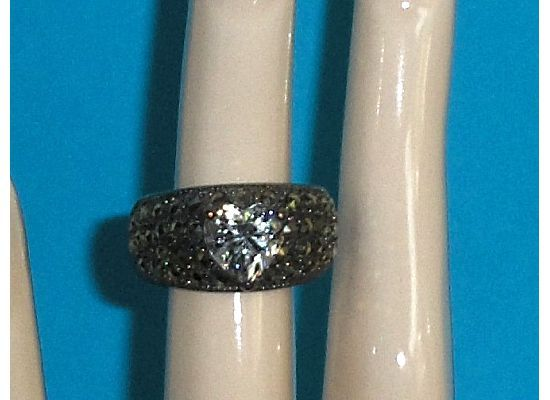 Sterling Silver Heart Simulated Diamond CZ and Marcasite Ring Size 6-1/2