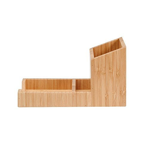 MobileVision Bamboo Pencil Holder with Tray for storing and organizing small sta