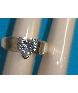 Heart CZ Ring Sterling Silver QVC Diamonique  S... - $54.00
