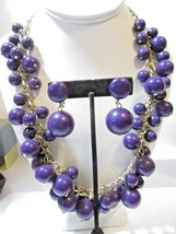 SET GOLD TONE CURB CHAIN PURPLE BEADS BAUBLE DANGLES MATCHING CLIP EARRINGS - $29.00
