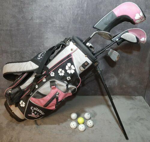 Callaway XJ Series Pink Junior Golf Bag 6 Right Hand Clubs & Balls Preowned USA  - $199.99