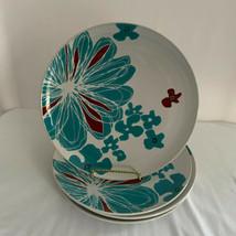 Ikea Bullra Dinner Plates Turquoise White Flowers Lot of 4 - $34.60