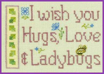 Hugs Love and Ladybugs LL61 Little Leaf cross stitch kit Elizabeth's Designs