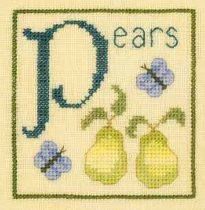 P is for Pears SC27 mini cross stitch chart Elizabeth's Designs