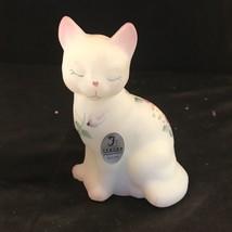 Fenton White Satin Glass Pink Rose Garden Hand Painted Cat Kitten Figurine  - $39.27