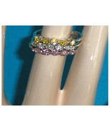 Avon Sterling Silver CZ Marquise Rings Set Size 8-1/2 Pink Yellow Clear - $24.97