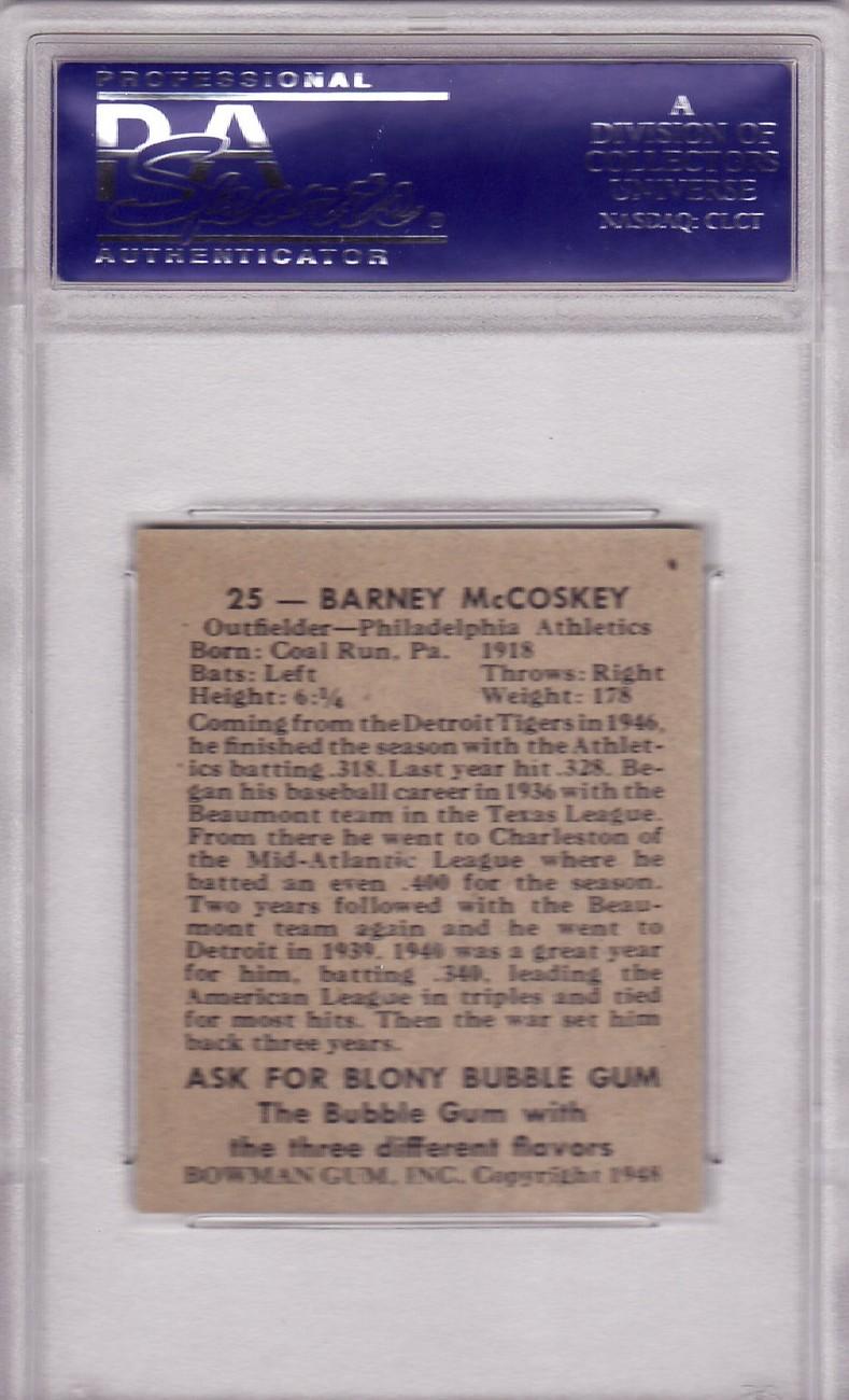 Barney McCosky 1948 Bowman #25 PSA 7 NM
