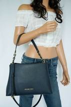Nwt Michael Kors Sofia Large East West Satchel Leather Shoulder Bag Navy - $98.99
