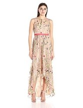 8 ADRIANNA PAPELL Nude Embroidered Mesh Floral Hi-Low Gown Dress NWT $299 - $126.72