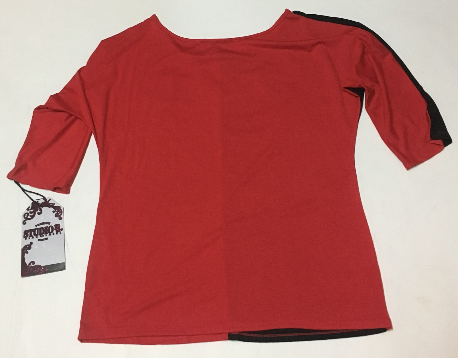 Studio 8 Blouse Sz 2X Black & Red Accented Heart NWT