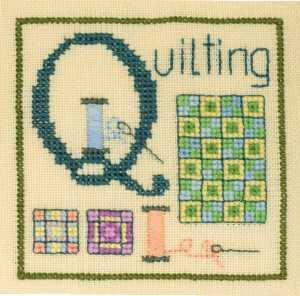 Q is for Quilting SC28 mini cross stitch chart Elizabeth's Designs