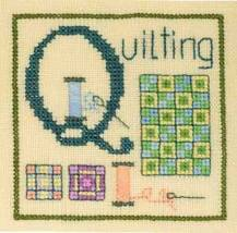 Q is for Quilting SC28 mini cross stitch chart Elizabeth's Designs  - $3.60