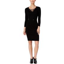Calvin Klein Women's Plus Size Lace Up V-Neck Casual Dress, Black, 2X - $41.28