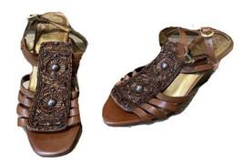 VINCE CAMUTO Bevys Brown Bronze Metallic Beaded Women's Wedge Sandals 8.5 B NEW - $38.60