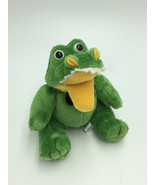 Steven Smith Tiny Mini Green Yellow Alligator Crocodile Plush Black Bowt... - $8.99