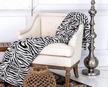 King Size Zebra Black White Coral Fleece Mega Throw Bed Blanket