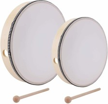 Foraineam 10 Inch & 8 Inch Hand Drum Percussion Wood Frame Drum with Drum Stick