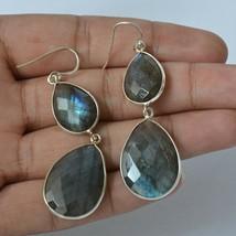 Labradorite Gemstone Handmade Jewelry 925 Solid Sterling Silver Dangle E... - $18.52