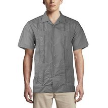 Alberto Cardinali Men's Guayabera Short Sleeve Cuban Casual Dress Shirt (L, Dark