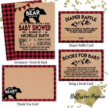 Lumberjack Baby Shower Invitation Set Woodland Flannel Diaper Book PRINT... - $19.00