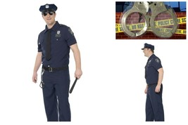 Mens *Plus Size* NYPD Cop Police Officer Fancy Dress Police Academy FREE Cuffs - $37.27