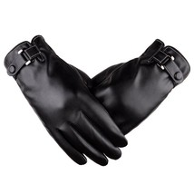 Warm PU Leather Gloves Simulation Leather Washed Plus Velvet Winter Ridi... - $27.03