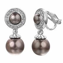 Yoursfs Grey Pearl Clip on Earrings for Women Non Pierced Ears Drop Earr... - $9.52