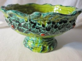 "Vtg Napcoware Pedestal Dish With Holly Decoration 5"" Diameter As Found Est - $7.87"