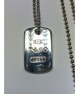 "TIFFANY & CO. Sterling Silver 1837 Dog Tag Pendant on a 30"" Chain - $245.00"