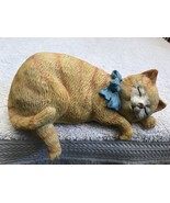 Cat Figure Golden Stripe Laying With Paws Hanging Over Shelf Cute Resin ... - $25.05
