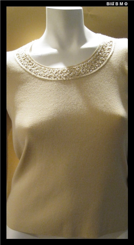 SIGRID OLSEN Knit Top with Beaded Neckline - Size Medium - FREE SHIPPING
