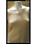 SIGRID OLSEN Knit Top with Beaded Neckline - Size Medium - FREE SHIPPING - $28.00