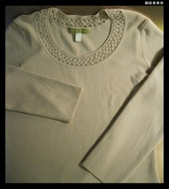 SIGRID OLSEN Knit Top with Beaded Neckline - Size Medium - FREE SHIPPING image 3
