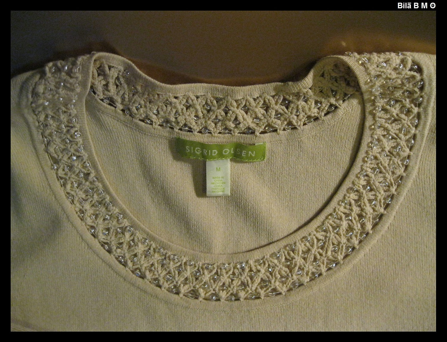 SIGRID OLSEN Knit Top with Beaded Neckline - Size Medium - FREE SHIPPING image 4