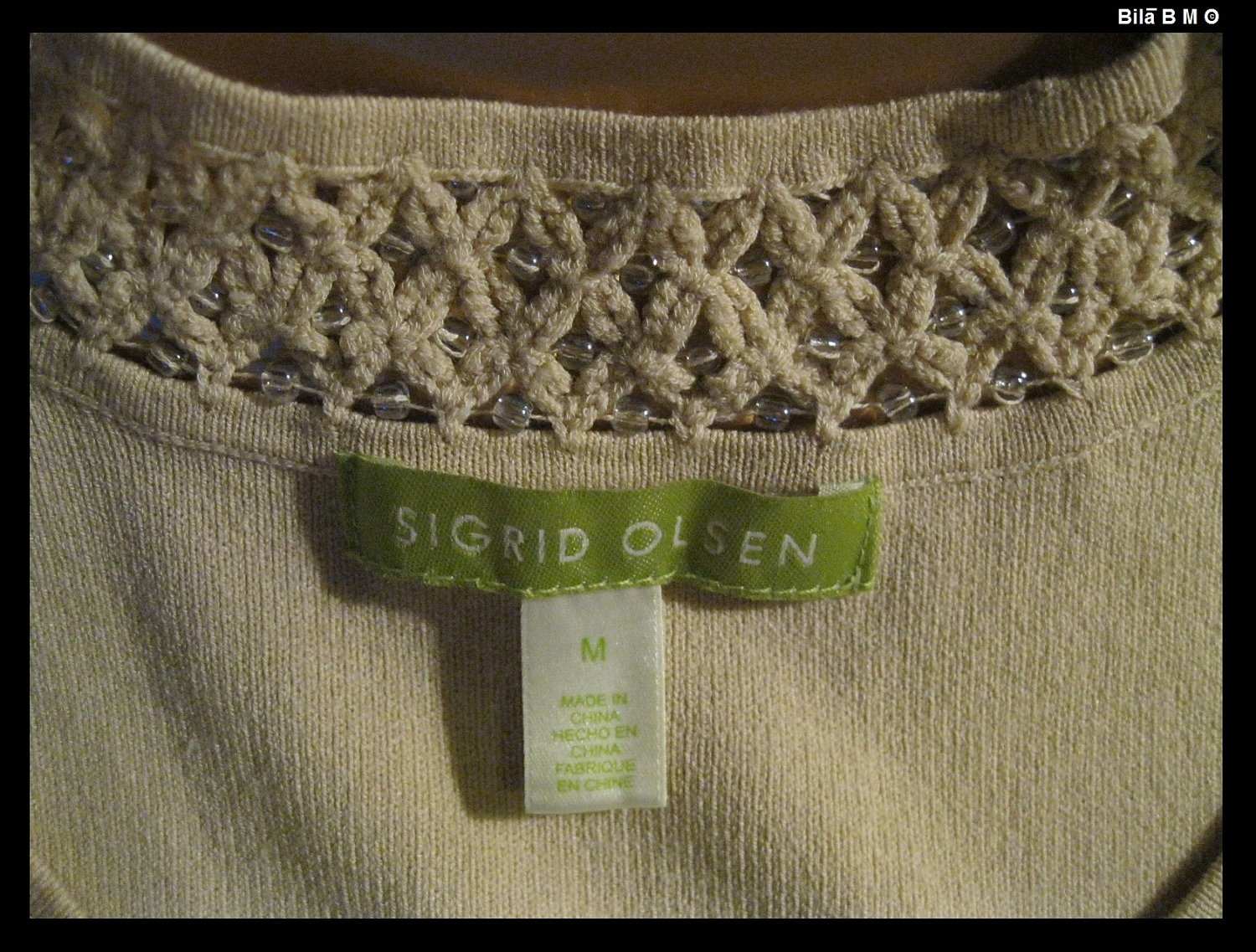 SIGRID OLSEN Knit Top with Beaded Neckline - Size Medium - FREE SHIPPING image 5