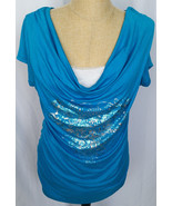 Cowgirl Up Western Shirt Top Womens S/S Blue Silver Foil Modesty Panel L... - $29.69