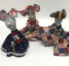 4 Vintage Mouse Quilting Christmas Ornaments Mice Sewing Crafting Handmade - $19.30