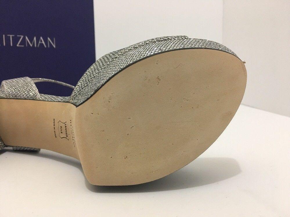 Stuart Weitzman Realdeal Silver Noir Women's Platform High Heels Sandals 7.5 M