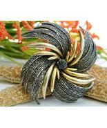 Vintage Pinwheel Starburst Flower Brooch Pin Signed Art Silver Gold - $24.95