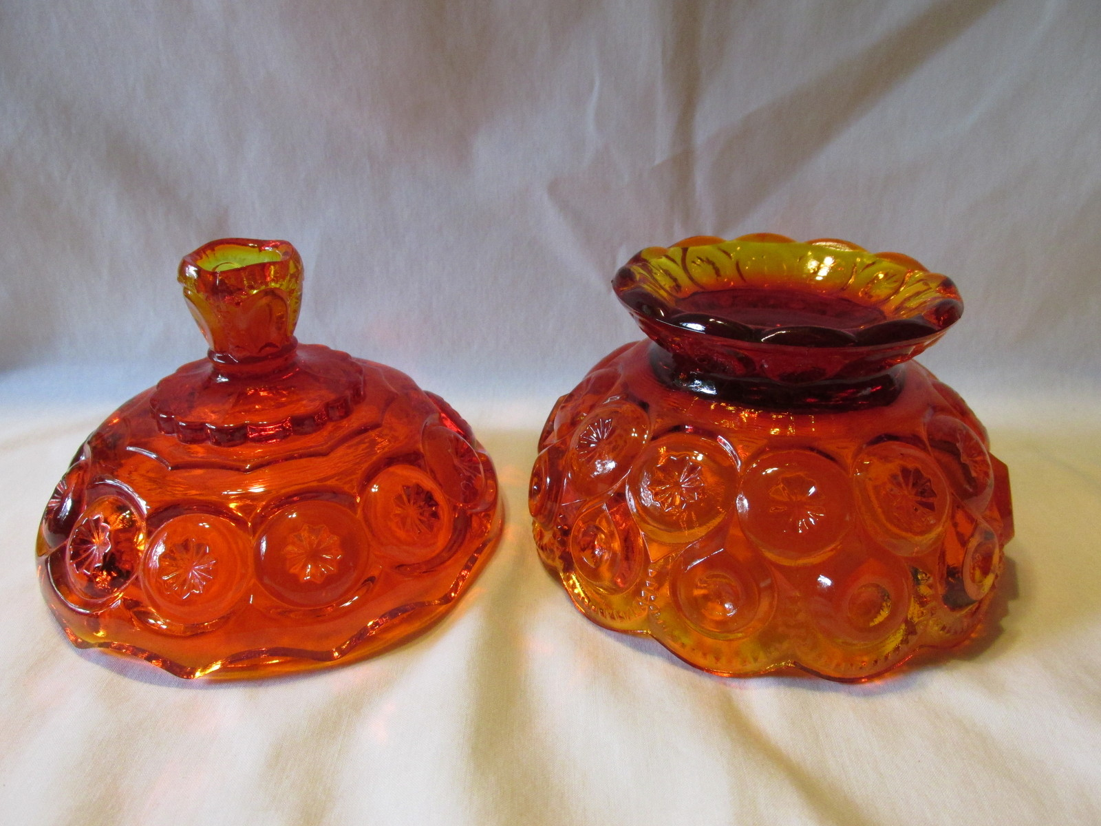 Moon and Star Amberina Lidded Compote - L. G. Wright Glass Co., 1930s-1960s