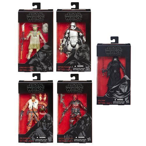 Star Wars VII The Black Series 6-Inch Action Figures Wave 2R1 Set of 6, Hasbro