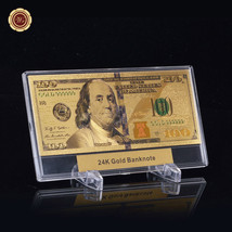 WR Latest $100 Bill US Paper Money Gold Banknote +Display Frame Holiday ... - $8.55